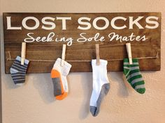 Lost socks seeking sole mates. Functional laundry room decor by TinasTinkers on Etsy https://www.etsy.com/listing/226760495/lost-socks-seeking-sole-mates-functional