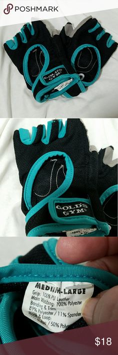 GOLD'S GYM Ladies M/L Weight Lifting Gloves Brand: Gold's Gym  Item: *Black & Teal 1/2 Fingerless Weight lifting Gloves *Gray Faux Suede on Palms for Good Grip *Size Medium / Large *Materials - Grip 100% PU Leather, Main Webbing 100% Poly, Banding & Trim 89% Poly, 11% Spandex, Hook & Loop 50% Nylon, 50& Poly *NWOT - Still Attached to Each Other But No Tag   *no trades, offers via offer button only* Gold's Gym Accessories