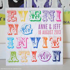Rainbow Carnival Typography Wedding Invitations | WED FEST
