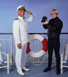 Andy Warhol [Himself] and Gavin McLeod [Captain Merrill Stubing], c.1985