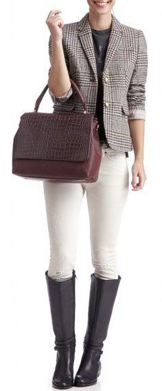 Tweed Jacket, Black Boots, White Skinnies + Burgundy Bag