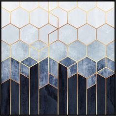 art deco interior Soft Blue Hexagons art print by Elisabeth Fredriksson.Our art prints are produced on acid-free papers using archival inks to guarantee that they last a lifetime with Wallpaper Texture, Hexagon Wallpaper, Art Deco Wallpaper, Blue Geometric Wallpaper, Wallpaper In Kitchen, Geometric Tiles, Geometric Patterns, Interiores Art Deco, Motif Art Deco