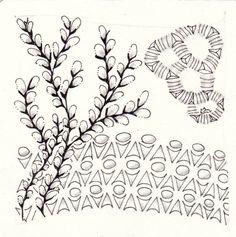 Ein Zentangle aus den Mustern Schleck, Cat-Kin, Tootle,  gezeichnet von Ela Rieger, CZT
