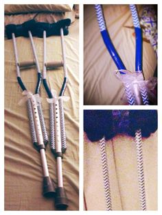 Blue chevron decorated crutches! Hand towels, duct tape, and ribbon.