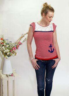 """T-Shirts mit Print - maritim Shirt """"Mari"""" -ringel-rot, Anker, Meer - ein Designerstück von pupette1 bei DaWanda"""