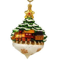 Christmas Express - Christmas tree covered with sparkling snow stands on a glass pillow with pointed tip. All Things Christmas, Christmas Tree, Christmas Express, Blown Glass Christmas Ornaments, Snowman Tree, Christopher Radko, Transport, My Childhood Memories, Gingerbread