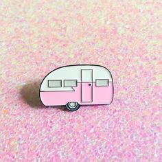 """Pink retro camper pin. 1.25"""" x .85"""" soft enamel. Comes with a soft rubber pin back. Pin this to you fave jacket, bag, sweater, etc!"""
