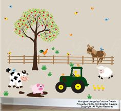Farm decal wall sticker set with lots of animal decals