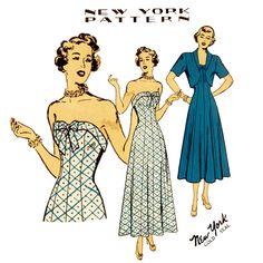1940s Dress Pattern New York Gold Seal 447 Misses Strapless Evening Dress Bolero Jacket Swing Era Rare Womens Vintage Sewing Pattern Bust 34. $44.00, via Etsy.