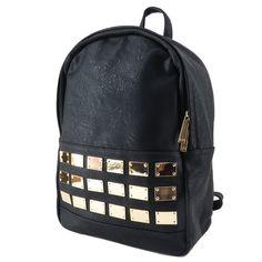 Mochila feminina de couro ecológico, mochila preta. Para carregar notebook…