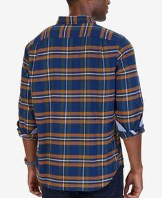 Nautica Men's Marine Plaid Flannel Shirt - Blue 3XL