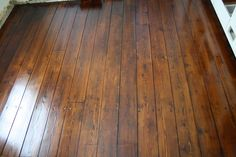 Restored wide plank pine floors, complete with top nails and cracks! This is what I have everywhere in my house from what I can tell buried under at least two other layers of flooring. One day I will do this!