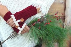 Fingerless Gloves Lace Gloves with Buttons Red by JannysGirl