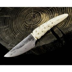 Jokul Hand Forged Knife Carved Antler Viking Vikings Norse Cutlery... (£39) ❤ liked on Polyvore featuring home, kitchen & dining, cutlery, dark olive, dining & serving, home & living, handmade knives, hand made knives, antler cutlery and hand crafted knives