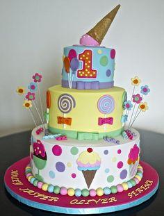Ice cream n candy theme cake