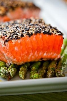 Sesame-Crusted Salmon Over Roasted Asparagus   19 Delicious Dinners You Can Make With Salmon Fillets