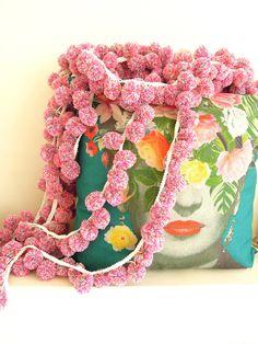 Large yarn pom pom trim 3cm Large multicoloured pink bobble