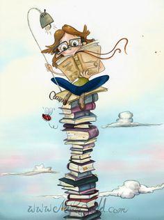 Sentada sobre una montaña de libros. Sentimiento de libertad cuando estoy leyendo. by Maika