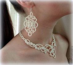 This Pin was discovered by Kat Tatting Necklace, Diy Jewelry Necklace, Tatting Jewelry, Lace Jewelry, Tatting Lace, Handmade Jewelry, Needle Tatting Tutorial, Needle Tatting Patterns, Beaded Necklace Patterns