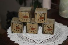 5 Primitive Snowman Heads Wood Block Shelf Sitter Bowl Fillers | eBay