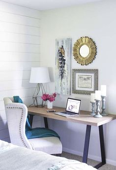 You won't mind getting work done with a home office like one of these. See these 20 inspiring photos for the best decorating and office design ideas for your home office, office furniture, home office ideas Home Office Space, Home Office Bedroom, Home, Office Nook, Interior, Bedroom Office Combo, Home Office Decor, Home Decor, Office Design
