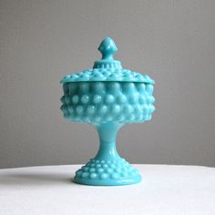 Turquoise Blue Hobnail Milk Glass Candy Dish by Fenton, 1950s. $98.00, via Etsy.