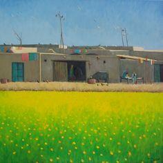 Title: Mustard Fields  Available  Contact :: rasuls_studio542@hotmail.com   #GhulamRasul #MustardFields #Landscape #LandscapeArtist