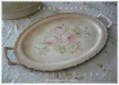 Love Vintage Tray with gorgeous hand painted roses! Available at www.debicoules.com