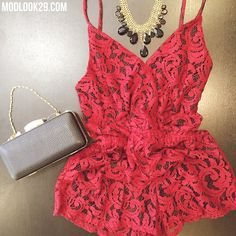 Our romantic Red Lace Romper is now available in store & online! The perfect date outfit or for Valentine's Day! ❤️ #staylacey xo www.modlook29.com