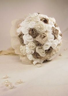Wedding Bouquet / Bridal Bouquet with roses burlap by LakaLuka