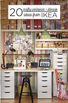 20 Crafty Workspace + Storage Ideas from Ikea crafti workspac, kitchen organization, living rooms, design homes, kitchen storage, 20 crafti, storag idea, storage ideas, craft rooms