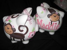 PERSONALIZED piggy bank love bugs monkey by andrewandelladesigns, I just ordered this...so cute!