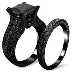 Halloween Jewelry for Women  AMIERY Black Gold Sapphire Princess Cut CZ Wedding Engagement Band Bridal Rings Jewelry Set