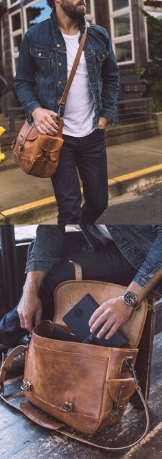 Vegetable tanned leather, external/internal pockets, and an adjustable strap. From Whipping Post.