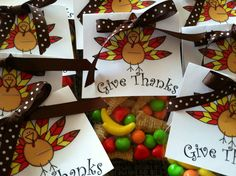 Give Thanks: Thanksgiving treat bags with bugles & runts! ;)