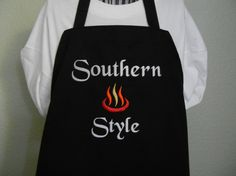 Southern Style Embroidered Apron Mens Barbecue by SELECTAPRONS