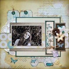 """Bonjour, Juste pour le plaisir .... une petite page avec la toute nouvelle collection """" Hello Spring """" de Lorelaï Design !! En décoration, j'ai utilisé des tampons Florilèges, Lorelaï et Unity Stamp, des fleurs dont une en Tarlatane, une flipette Embelliscrap...."""
