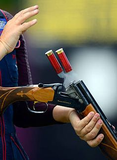 Shell it out, Kim Rhode unloads during the women's skeet-shooting competition.