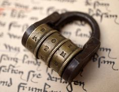 Combination Padlock Brass and Iron Collectible Rare Vintage Antique Letter Code - Secret Lock