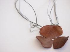 Copper pendant, copper flower pendant, copper necklace, copper jewelry, women's jewelry
