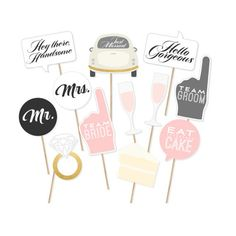 Funny Wedding Decoration Photo Booth Props 12pcs Set Mr Mrs Diamond Ring