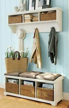 For our entryway. try to put it to use 55 Mudroom And Hallway Storage Ideas Entryway Wall, Entryway Ideas, Apartment Entryway, Entryway Furniture, Hallway Ideas, Narrow Entryway, Wall Ideas, Furniture Ideas, Narrow Bench