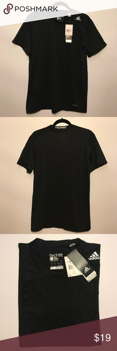 Adidas Techfit Base Tee,NWT,Medium Adidas Techfit Fitted Short Sleeve blackt training.  t-shirt adidas Shirts Tees - Short Sleeve