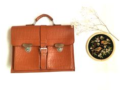 Vintage satchel Leather 50s schoolbag teachers bag briefcase German retro hand bag original Mid Century style tangerine brown leather bag by SuitcaseInBerlin on Etsy