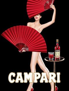 Vintage Campari Poster Aperitif Wall Art, Best Friend Gift for Women Men, Burlesque 2 Fans Illustration, Cocktail Bar Wall Decor, Office Art Vintage Italian Posters, Pub Vintage, Vintage Advertising Posters, Vintage Labels, Vintage Advertisements, Retro Poster, Poster Ads, Poster Vintage, Pin Up