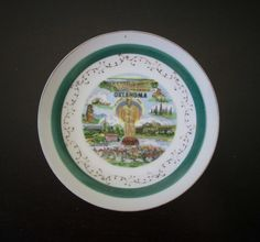Oklahoma Vintage Souvenir Decorative Small China Plate with Green and Gold Trim AtomicPutz.com & Souvenir collectible state plates Connecticut the nutmeg state green ...