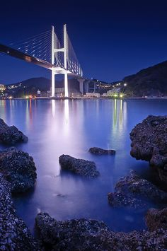 Still Waters, Bridge at night, Nagasaki, Japan. My years in Japan influenced my life greatly. The Places Youll Go, Places To See, Beautiful World, Beautiful Places, Night Photography, Travel Photography, Nagasaki, Hiroshima, Japan Travel