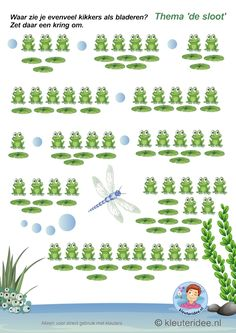 Waar zie je evenveel kikkers als bladeren, thema de sloot, kleuteridee, Where do you see as many frogs as leaves, free printable Body Preschool, Frog Pictures, Frog Crafts, Pond Life, Math Addition, Kids Education, Pre School, Math Activities, Free Printables