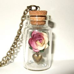 Rose Bottle Necklace, Bottle Pendant, Rose in a Bottle, Pink Paper Rose, Romantic Pendant, Sleeping Beauty, Rose Necklace, Valentine Jewelry