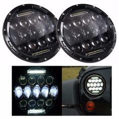 "89.99$  Buy now - http://ali96u.shopchina.info/go.php?t=32792461417 - ""2PCS 7 Inch Round LED Headlight 75W Multi-Beam Low/High w/DRL Black Housing for Jeep Wrangler Jk 7"""" Headlamp""  #buyonline"